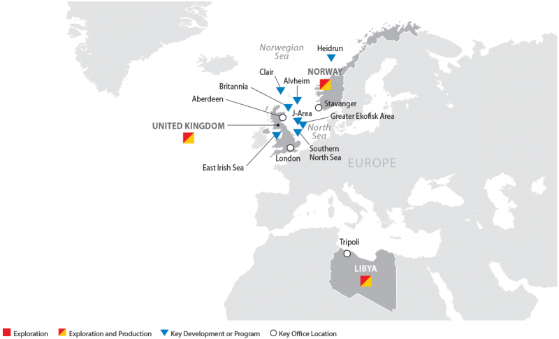ConocoPhillips Europe and North Africa Operations Map