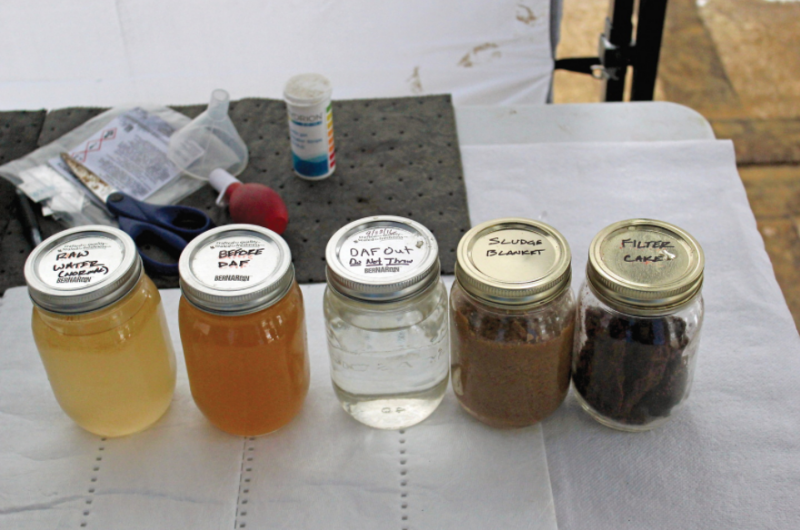 Water samples collected at various stages of the process